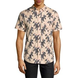 Toucan Print Short Sleeve Button-up Shirt